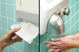 Paper towel are safer than air dryers